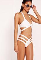 Missguided Strappy Bandage Plunge Bikini White