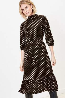 Oasis Womens Black Spot Midi Dress - Black