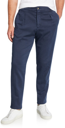 Marco Pescarolo Men's Solid Twill Pleated-Front Pants