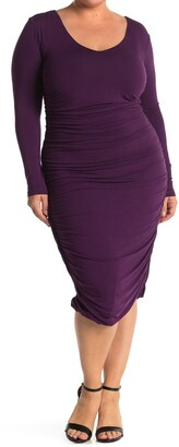 Marée Pour Toi Ruched Long Sleeve Jersey Midi Dress