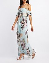 Charlotte Russe Floral Ruffle Off-The-Shoulder Maxi Dress