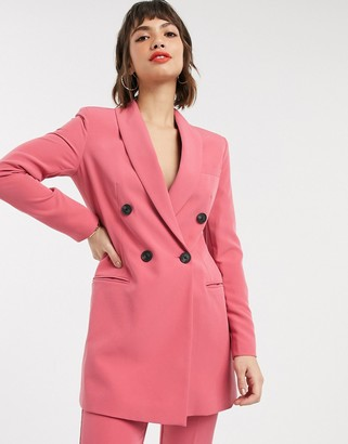 Stradivarius double breasted blazer dress in pink