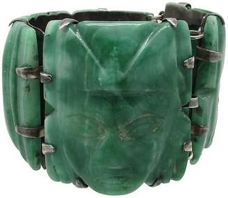 One Kings Lane Vintage Carved Green Onyx Sterling Bracelet - Thanks for the Memories