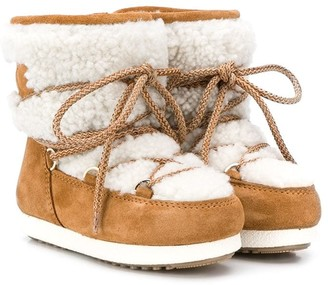 MOON BOOT KIDS Shearling Panel Snow Boots