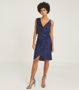 Reiss Zaria - Drape Front Cocktail Dress in Blue