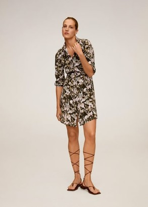 MANGO Printed shirt dress khaki - 2 - Women
