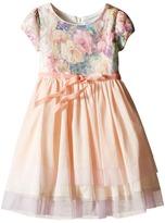 Us Angels Printed Sequin Mesh Cap Sleeve Dress w/ Tulle Skirt (Little Kids)