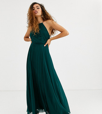 Asos DESIGN Petite Bridesmaid pinny maxi dress with ruched bodice