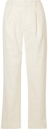 Ganni Cotton-blend Corduroy Wide-leg Pants - Cream