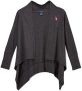U.S. Polo Assn. Dark Heather Gray Sidetail Open Cardigan - Girls
