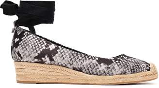 Tory Burch Snake-print Satin Wedge Espadrilles
