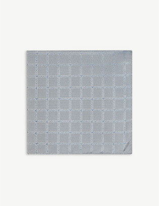 Emporio Armani Logo-embroidered check silk pocket square