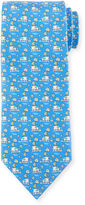 Salvatore Ferragamo Elephant & Tree Printed Silk Tie, Light Blue