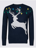 M&S Collection Stag & Lights Crew Neck Jumper