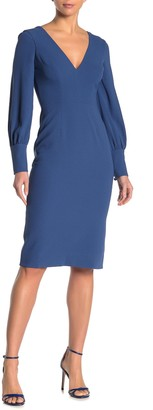Dress the Population Norah Plunge Bishop Sleeve Sheath Dress