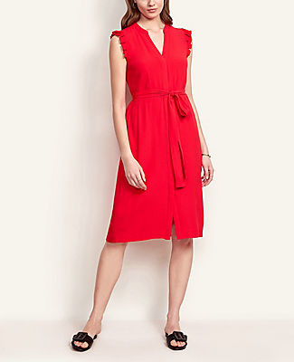 Ann Taylor Petite Flutter Sleeve Shirtdress