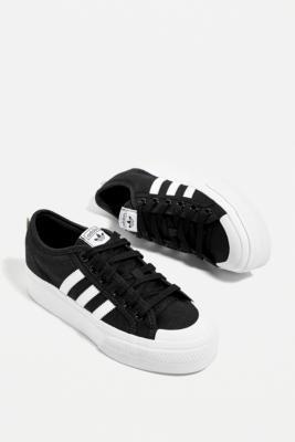 adidas Black & White Nizza Platform Trainers - Black UK 5 at Urban Outfitters