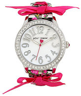 Betsey Johnson Floral Striped Watch with Ribbon