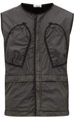 Stone Island Logo Embroidered Lamy Flock Nylon Gilet - Mens - Black