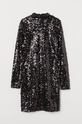 H&M Stand-up Collar Sequined Dress