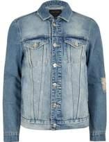 River Island Mens Light blue 'faded future' print denim jacket