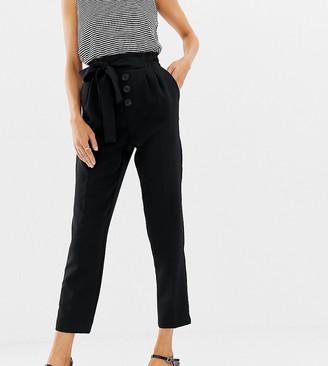 Stradivarius button front tie waist peg leg trouser-Black
