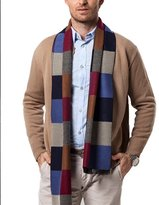 Panegy Men Scarves Business Casual Neckerchief Plaid Stripe Tassel Wap for Men