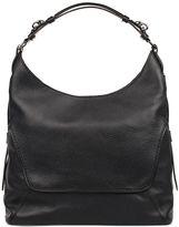 Fay Black Hammered Leather Shoulder Bag