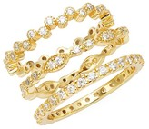 Thumbnail for your product : Sterling Forever Set of 3 Crystal Stackable Ring
