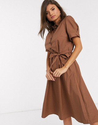 Vila midi shirt dress with tie waist in brown