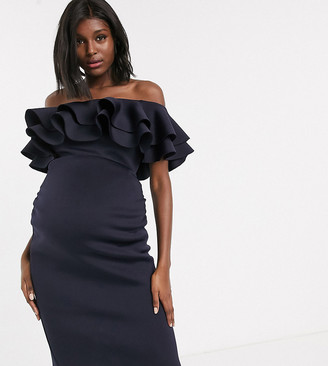 Bardot True Violet Maternity midi dress with double frill in navy