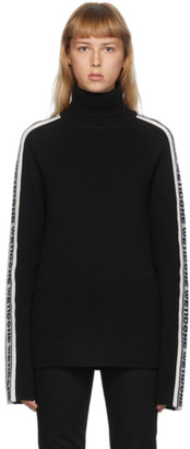 we11done Black and White Wool Logo Stripe Turtleneck