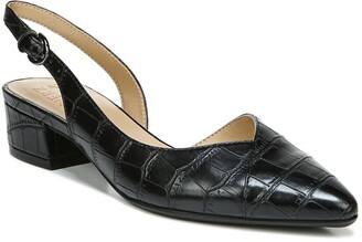 Naturalizer Frisco Pointed Toe Croc Embossed Slingback Low Block Heel - Wide Width Available