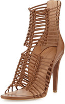Belle by Sigerson Morrison Mella Strappy Leather Caged Sandal, Medium Brown Leather
