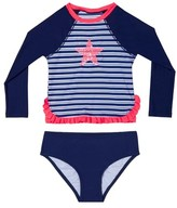 Hula Star Toddler Girl's Retro Stripe Two-Piece Rashguard Swimsuit