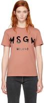 MSGM Pink Milano Logo T-Shirt