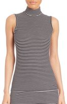ATM Anthony Thomas Melillo Striped Sleeveless Mock Neck Top
