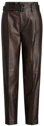 Polo Ralph Lauren Belted High-Waist Leather Pants