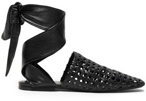 Jil Sander Lace-up Woven And Smooth Leather Slippers