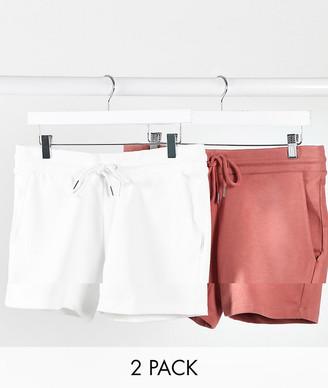 ASOS DESIGN jersey skinny shorts in shorter length 2 pack white/pink