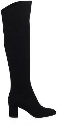 L'Autre Chose Black Suede High Knee Boot