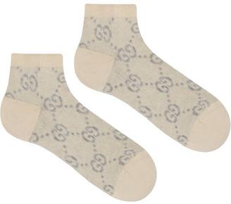 Gucci Cotton-blend Gg Lame Socks