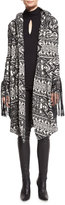 Haute Hippie Multipattern Hooded Leather-Trim Coat, Black/White
