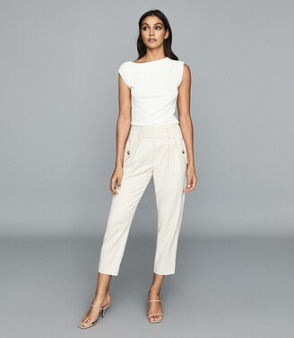 Reiss Flavia - Jersey High Neck Top in White