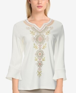 Thumbnail for your product : Alfred Dunner Women's Missy San Antonio Embroidered Bell Sleeve Top