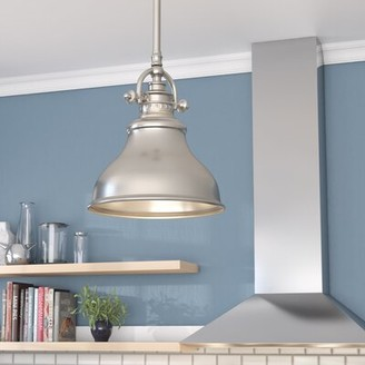 """Beachcrest Home Mueller 1 - Light Single Dome Pendant Finish: Brushed Nickel, Size: 9"""" H x 8"""" W x 8"""" D"""
