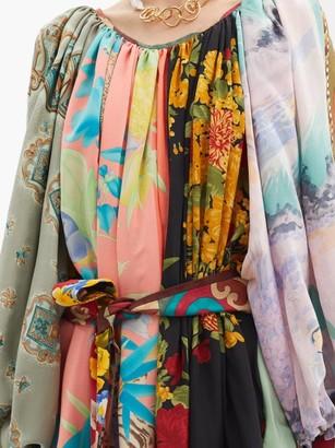 RIANNA + NINA Patchwork Gathered-neck Vintage-silk Dress - Multi