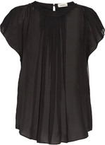 L'Agence Thimio pleated ruffled silk blouse