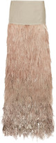 Tom Ford Velvet And Tiered Ombré Feather Maxi Skirt - Antique rose