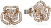 As 29 AS29 Women's 18ct Pink Gold Round White Diamonds and Round Clear Sapphire XS Pave Flower with Line Earring